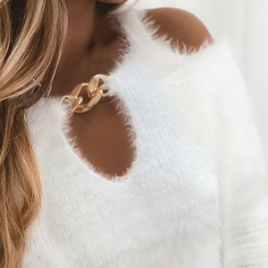 NWOT White cold shoulder gold chain fluffy sweater